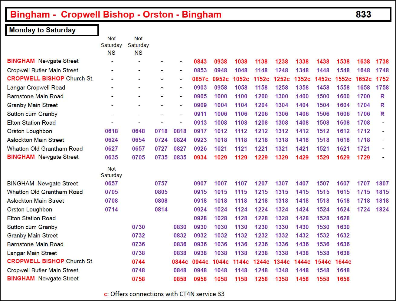 833 Timetable