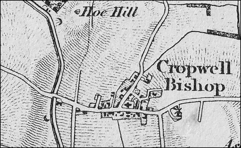 Map of Cropwell Bishop in 1830s