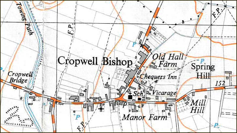 Map of Cropwell Bishop in 1940s