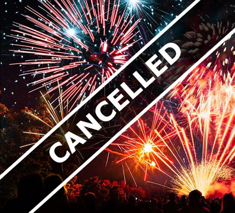 Poster saying Fireworks cancelled