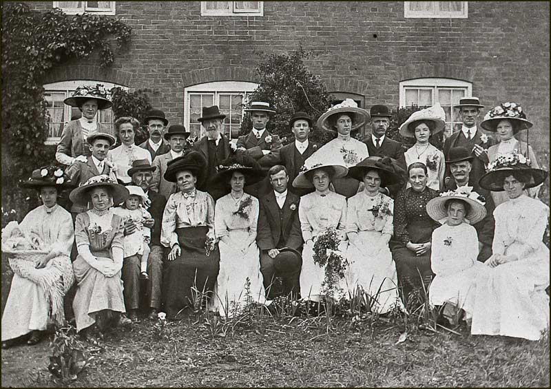 Wedding of Samuel Simpson and Nellie Smalley. Outside Etheldene Cottages