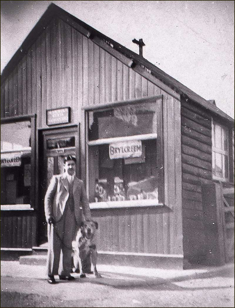 Harry Smith outside hairdresser & cobblers on Churach Street