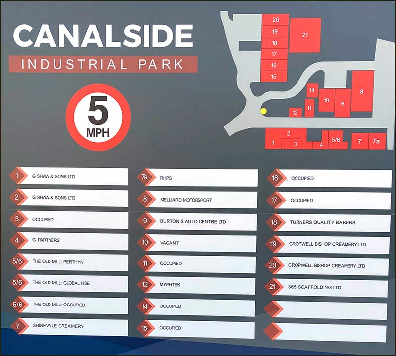 Businesses at Canalside Industrial Park